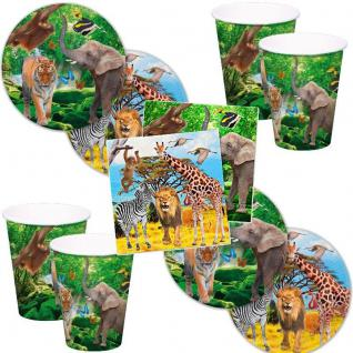 SAFARI 52 tlg. Party Set - Becher Servietten Teller- Kinder Geburtstag #FOL