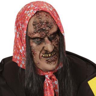 Horror Maske HEXE MIT HAAR Halloween Halbmaske 0379