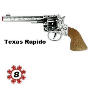 Revolver TEXAS RAPIDO Knall Pistole Kinder Spielzeug Metall Gehäuse Western
