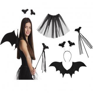 WOW SET FLEDERMAUS (Tiara, Stab, Flügel und Tutu) Damen Vampir Party Kostüm