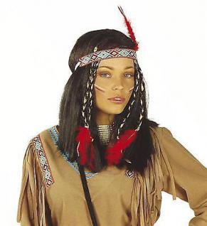 Indianerin PERÜCKE mit Feder Squaw Indianer Karneval Damen Kostüm #6140