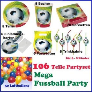 MEGA PARTY SET Kinder Geburtstag FUßBALL PARTY 106 teilig