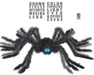 Riesen Spinne 90 cm mit Sound Geräusch animiertbewegliche Beinen Halloween Deko