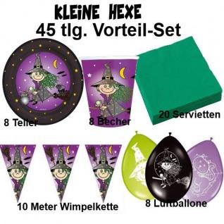 KLEINE HEXE 45 tlg. Vorteil-Set Kinder Geburtstag Party Halloween Teller Becher