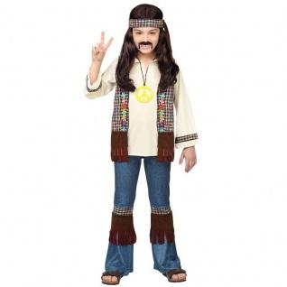 Hippie Love & Piece Kinder Kostüm für Jungen Schlaghose Jeans 70er Flower Power
