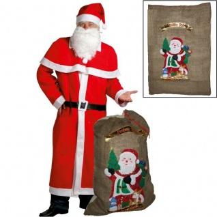 Weihnachtsmann Mantel Kostüm-Set 6-teilig mit großem Jutesack 50x70cm Nikolaus