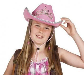COWBOY HUT Mädchen Pink Rosa Cowgirl Diadem Kinder Kostüm Fasching Cowboyhut