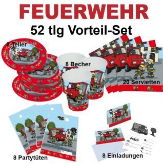 52 tlg. Vorteil-Set FEUERWEHR Kinder Geburtstag Party Deko - Teller Becher -TIP