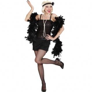 20er Jahre Charleston Kleid Damen Kostüm Flapper Fransen-Kleid schwarz Babylon