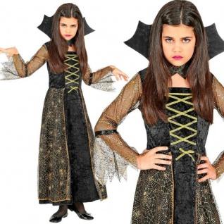 SPIDERELLA Hexe Vampirin elegantes Mädchen Kinder Kostüm Halloween Karneval #156