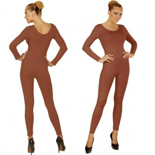 Einteiler Damen Body Overall Jumpsuit lang Sport braun, Langarm Gr. S/M M/L, XL