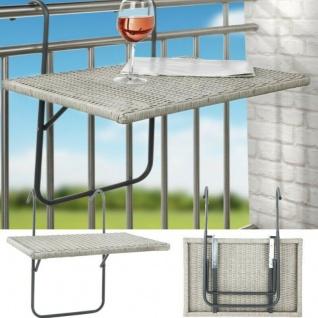 Balkon-Hängetisch Rattanoptik klappbar rechteckig 60x40cm Terrasse Beistelltisc
