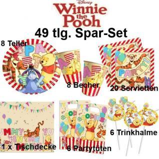 49tlg. Spar-Set Winnie the Pooh II Kinder Geburtstag Party Deko Teller Becher
