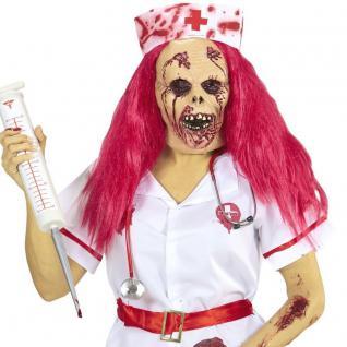 Halbmaske ZOMBIE KRANKENSCHWESTER Maske mit Haare Halloween Fasching #954