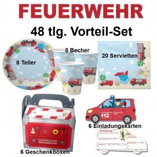48 tlg. Vorteil-Set FEUERWEHR Kinder Geburtstag Party Deko - Teller Becher -DH-K