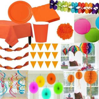 Party Deko in der Farbe - BUNT / ORANGE- Teller Laterne Wimpel Girlande Pompom