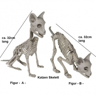 KATZEN SKELETT 32cm Halloween Party Horror Deko Tierskelett - 2 Modelle Auswahl