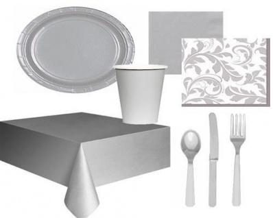 Einweggeschirr Silber Party Deko Silber Hochzeit Jubiläum Geburtstag