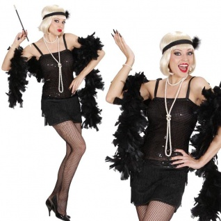 20er Charleston Pailletten Kleid + Stirnband Damen Kostüm 34/36 (S) Berlin #7033