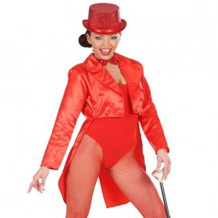 SATIN FRACK rot Damen Kostüm Showgirl Karneval Fasching Show Tänzerin Theater