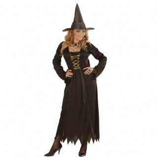 WOW HEXEN KOSTÜM für Damen 42/44 (L) Halloween Hexenkostüm schwarz Hexe 0433