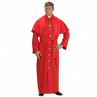 3tlg DELUXE KARDINAL Herren Kostüm rot Gr. 52 (L) - Kirche Papst Priester Pastor