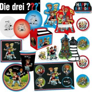 Party Geschirr - DIE DREI FRAGEZEICHEN ??? Kids Detektive - Kinder Geburtstag