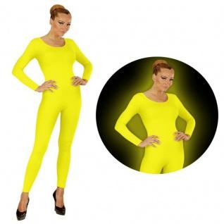 Einteiler Damen Body Overall Jumpsuit lang Sport neon gelb Langarm S/M, M/L XL