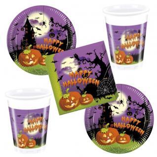52 tlg. Spooky Grusel HALLOWEEN Party Set 16 x Becher 16 x Teller 20x Servietten