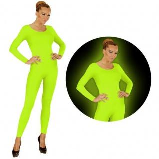 Einteiler Damen Body Overall Jumpsuit lang Sport neon grün, Langarm Gr. M/L, XL