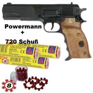 AGENT POWERMAN Knall-Pistole mit 720 Schuß Munition Kinder Spielzeug Revolver