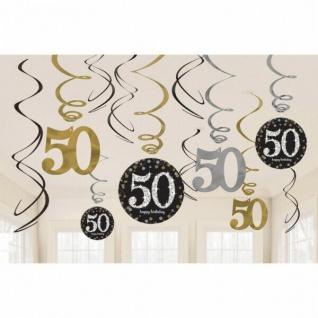 50. Geburtstag Party 12 tlg Swirl Girlanden - schwarz Gold - Raum Deko Jubiläum