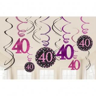 40. Geburtstag Party 12 Swirl Girlanden Glamour Pink Schwarz Raum Deko #0605