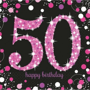 50. Geburtstag Party Motiv Servietten schwarz rosa pink Feier Tisch Deko #0611