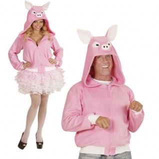 Schwein Kostüm Schweinchen Jacke pink Porky Fleece Damen Herren Karneval #0701
