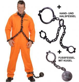 County Jail Sträfling Herren Kostüm Komplett-Set mit Hals-Handfessel + Fußkette