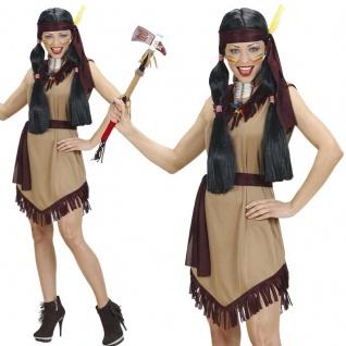 3 tlg Indianerin Damen Kostüm Kriegerin - Kleid Gürtel Stirnband - 36 38 40 44