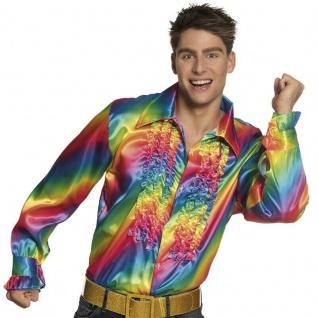 Herren Regenbogen Shirt 70er 80er Disco Party Rüschen Hemd Kostüm Schlagermove