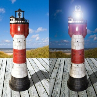 50 cm Garten-Deko Solar-Leuchtturm ROTER SAND + LED Beleuchtung Solarleuchte