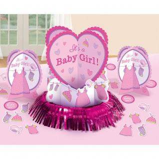 23-tlg Tisch Deko Set Geburt Mädchen Baby Girl pink 3 Aufsteller + Konfetti #489