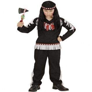 3tlg Indianer Junge Kinder Kostüm Winnetou Apache Krieger braun Gr. 104 - 158