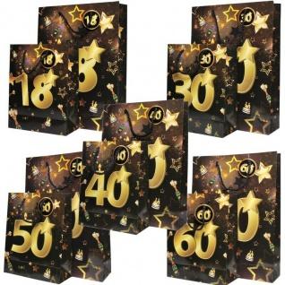 Geburtstag Jubiläum 2er-Set Geschenk Taschen in Schwarz Gold Tüte 18 30 40 50 60