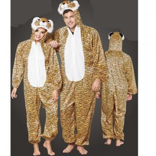 Tiger Plüsch Kostüm - Overall für Damen Herren Jumpsuit Junggesellenabschied
