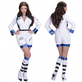 Sexy Astronautin Damen Kostüm - 2 tlg. Overall mit Schuhüberziehern - Karneval