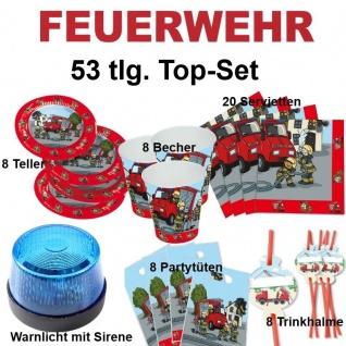 53 tlg. TOP-Set FEUERWEHR Kinder Geburtstag Party Teller Becher Sirene - TIP