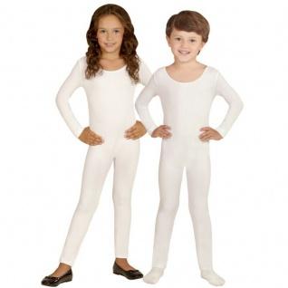 Einteiler Kinder Body Overall Jumpsuit lang Sport weiß Langarm Kostüm 116-152