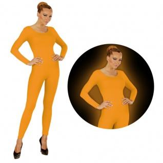 Einteiler Damen Body Overall Jumpsuit lang Sport neon orange Langarm S/M, M/L XL