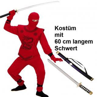 EDLES NINJA Ninjago Kinder Kostüm + 60cm Schwert rot - Jungen Karneval Fasching