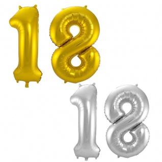 18. Geburtstag XXL FOLIENBALLON Zahl 86cm Gold od. Silber Helium Luftballon