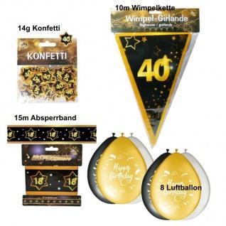 Party Deko Set zum 40. Geburtstag Party 40 Jahre Jubiläum schwarz gold (Set 3)
